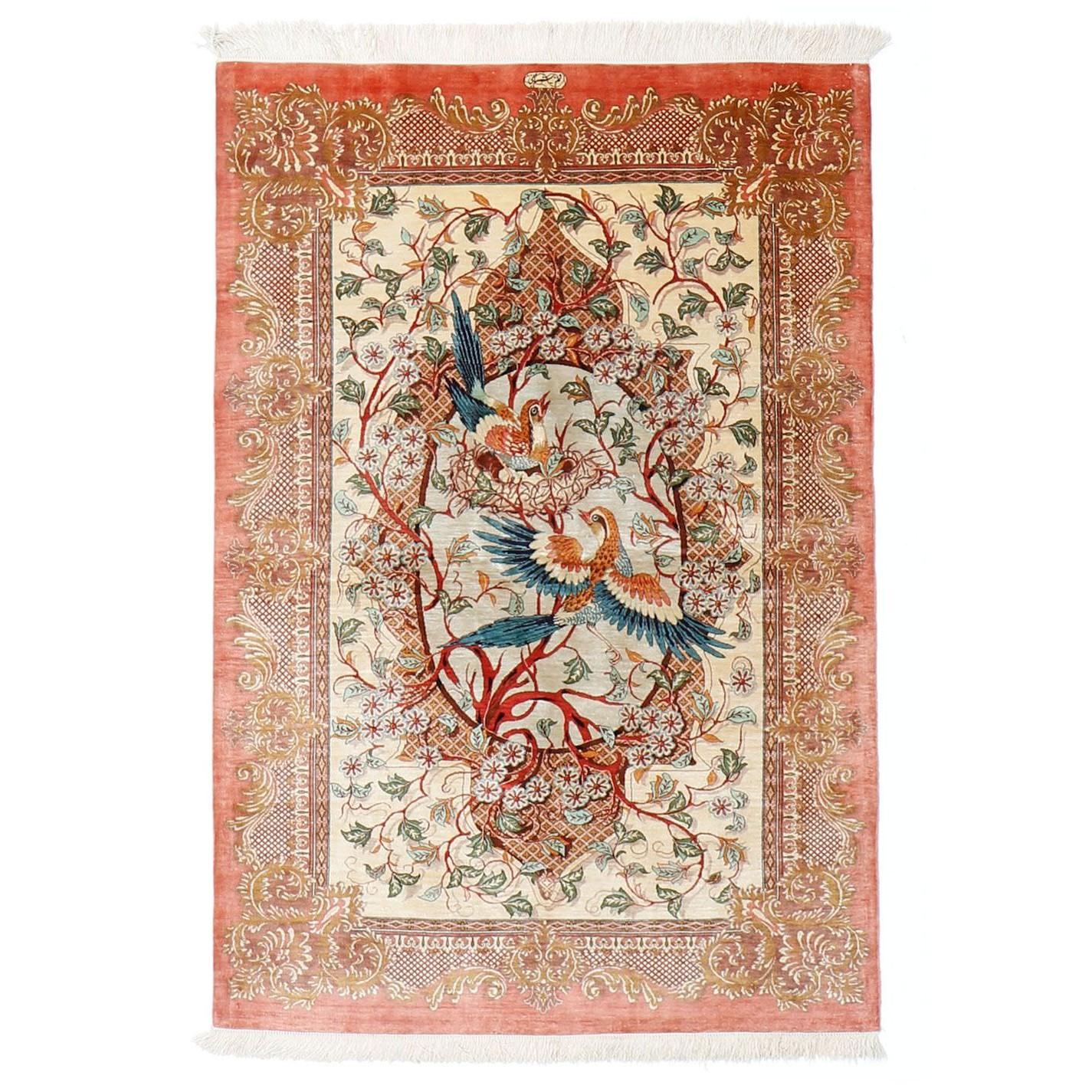 tapis soie ghom soie oiseaux de paradis 149x103