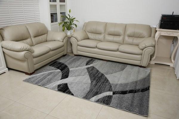 שטיח אומגה דגם גלים אפור שחור