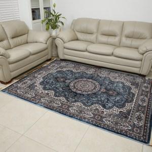 שטיח דמוי משי דגם מדליון תכלת
