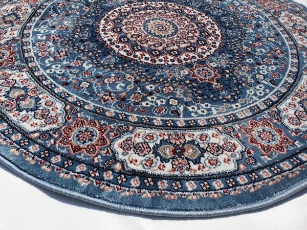 שטיח קלאסי עגול צבע תכלת (3)