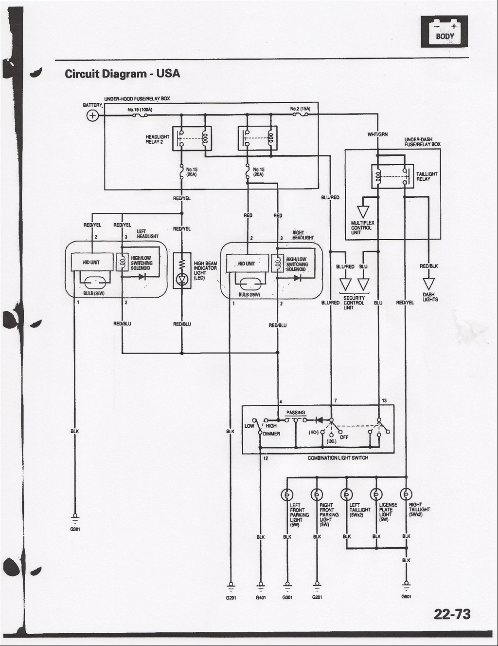 Honda Civic Headlight Switch Diagram
