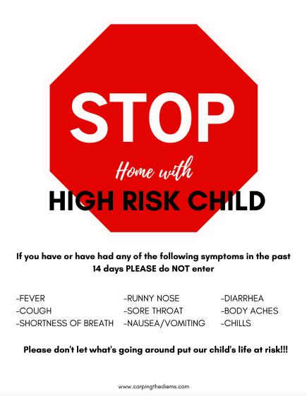 High Risk Child Door Sign