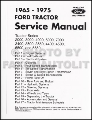 19651975 Ford Tractor Repair Shop Manual Reprint 2000