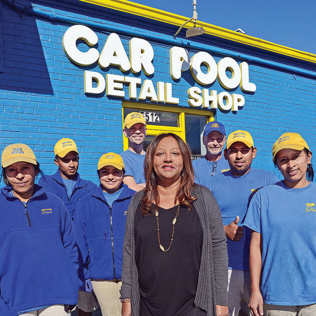 Managing Partner Gina Budhai (Centre) with Car Pool Detail Employees