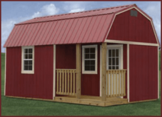 Painted Side Lofted Barn Cabin