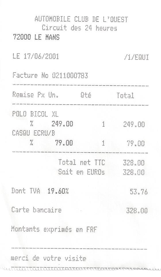 b7d1f501 I found a receipt for a Le Mans Polo shirt and baseball cap I purchased in  2001; I don't remember paying that much (and won't this time). Wow!