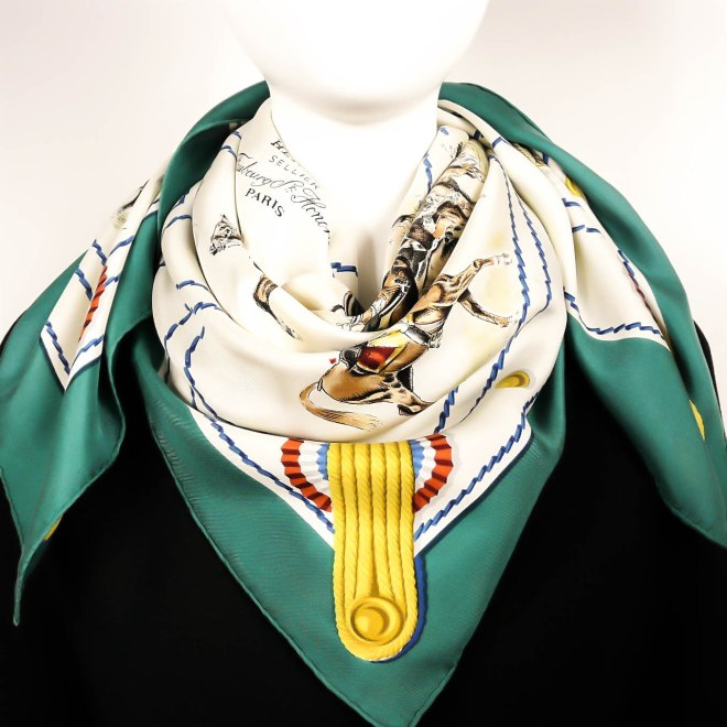 Cadre Noir HERMES Vintage Silk Scarf-12