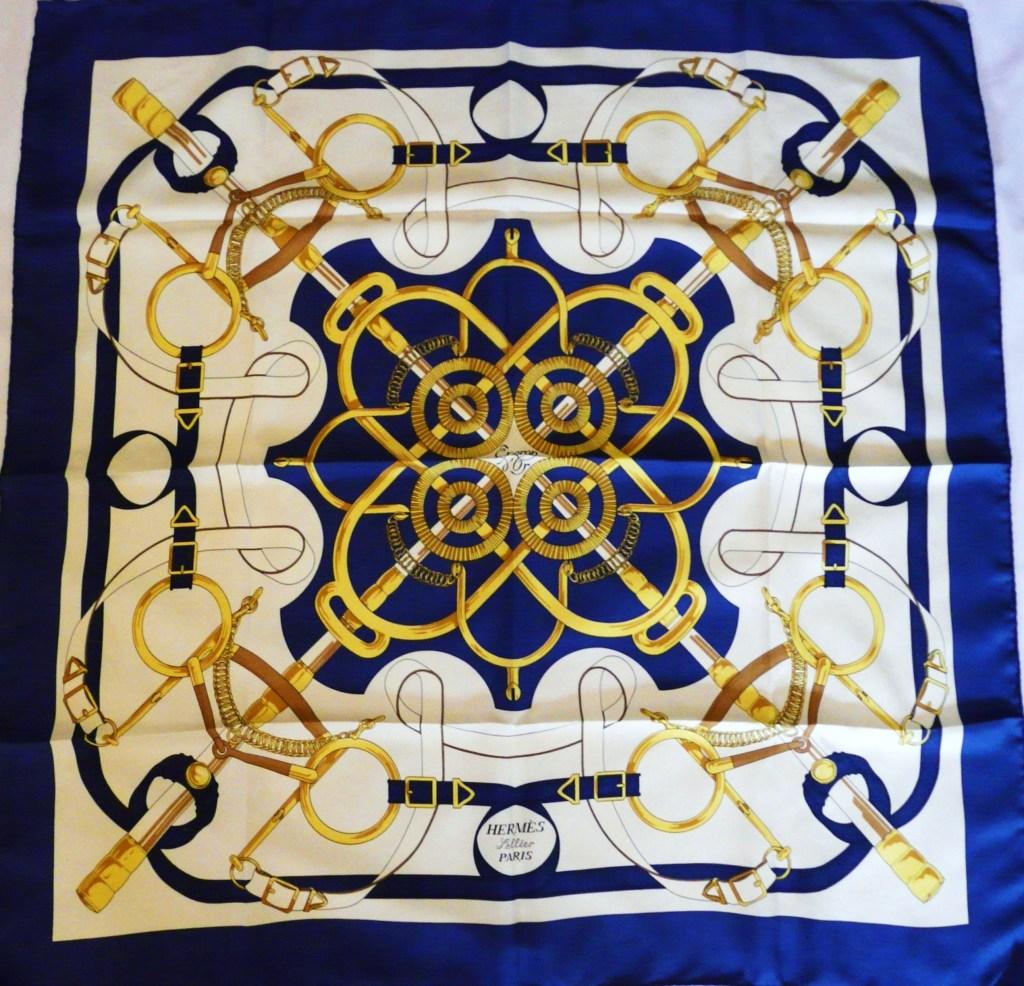 Eperon d Or Hermes Scarf Blue 2 – Carre de Paris HERMES© Scarf Blog 817199ae60c