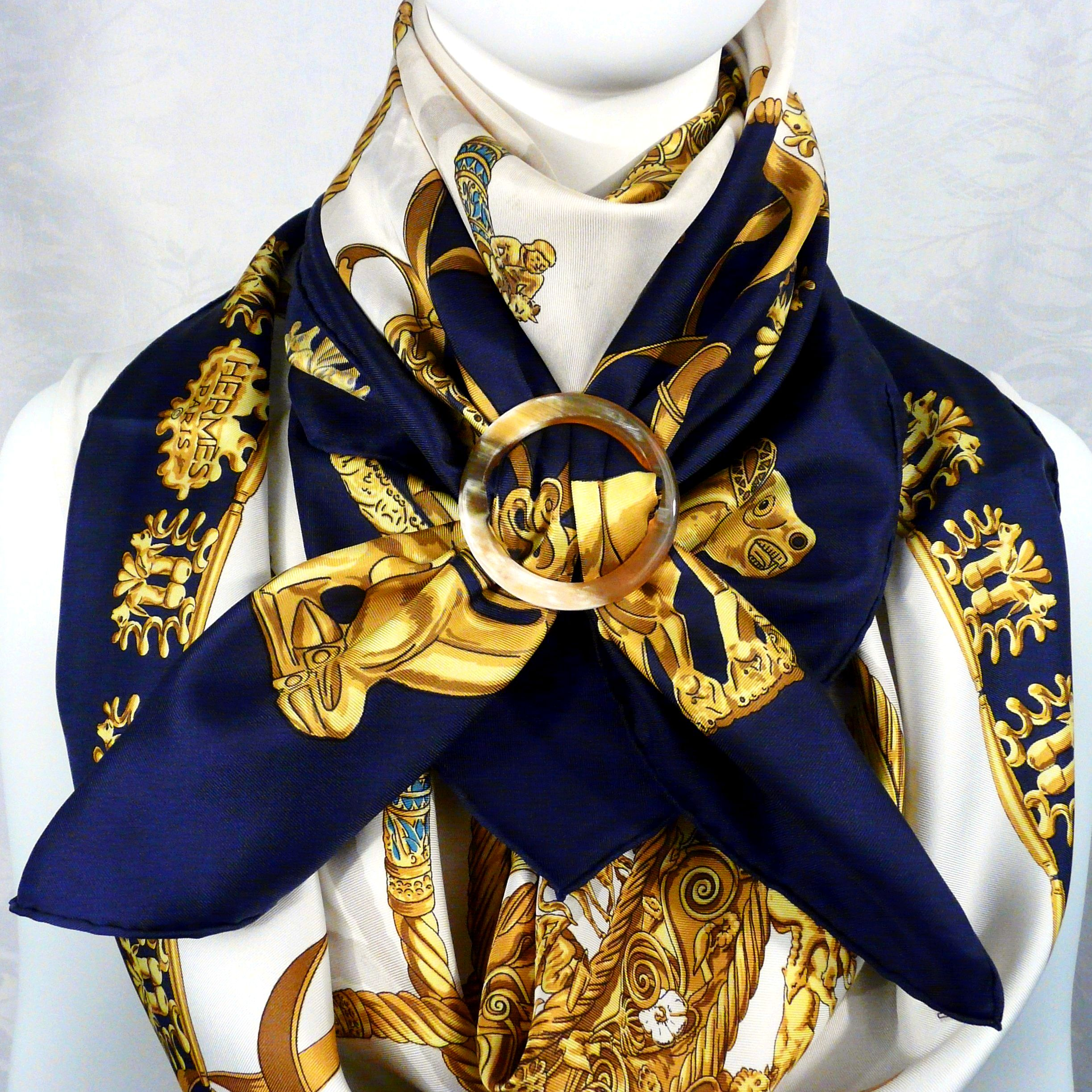 2 Cavaliers d'Or HERMES Scarves with Grand Rond Anneau Horn Scarf Ring Carre de Paris Close Up