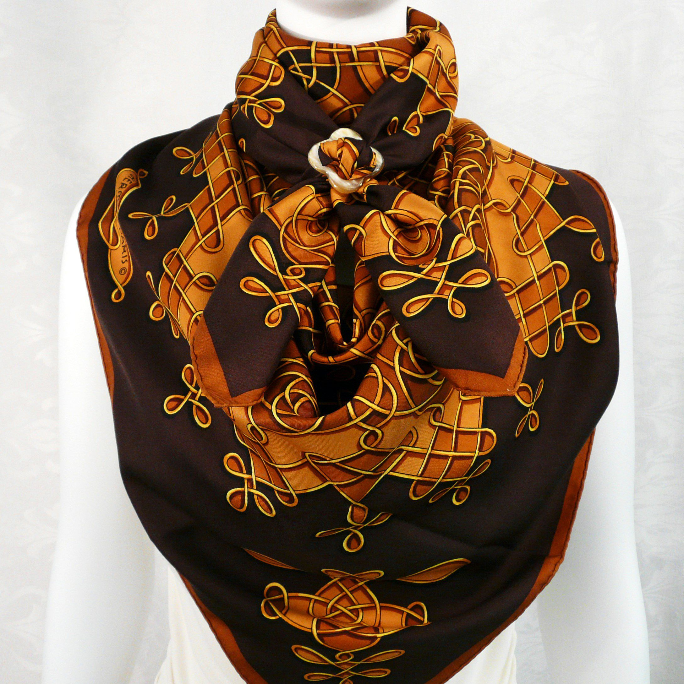 2 Vinci HERMES Scarves with Anneau de Luxe Horn Scarf Ring Carre de Paris II