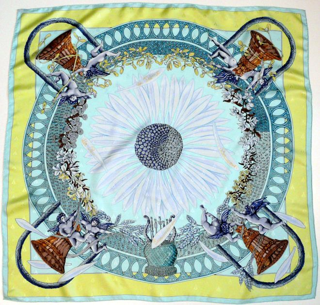 Amours Hermes Silk Jacquard Scarf 90 cm by 90 cm