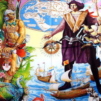 Les Ameriques Colombus HERMES Silk Scarf, 1992
