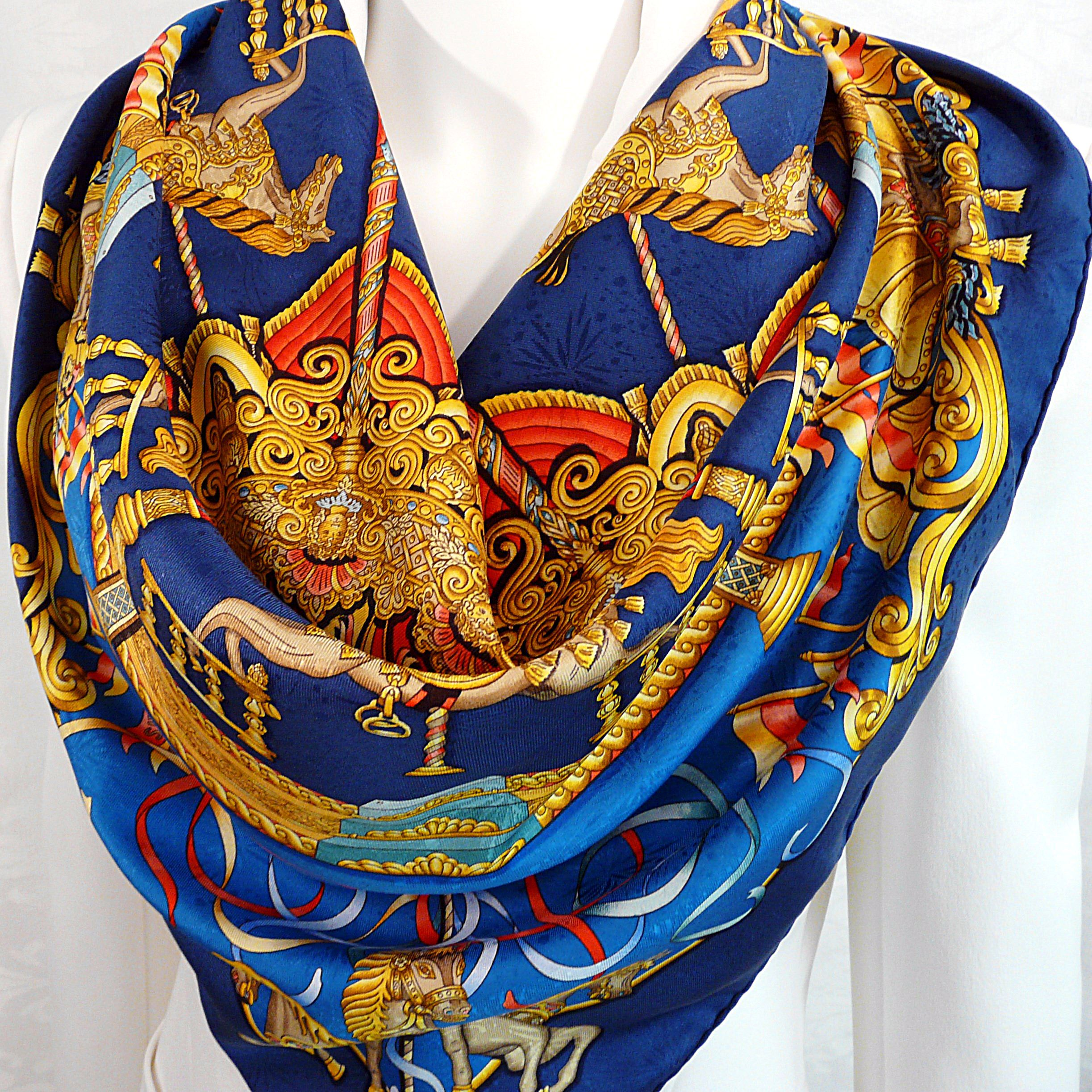Luna Park HERMES Metz 1993 Silk Jacquard Carre