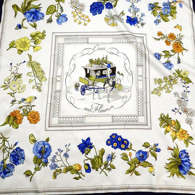 Quai aux Fleurs HERMES Silk Scarf Early issue 36 inch Scarf
