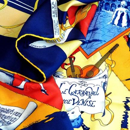 Carnaval de Venise HERMES Paris Scarf care tag copyright and artist signature