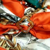 Anneau de Luxe Horn Scarf Ring with HERMES Napoleon Scarf Carre de Paris