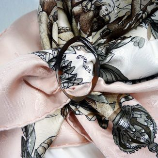 Napoleon Hermes Silk Scarf with Horn Scarf Ring Close Up