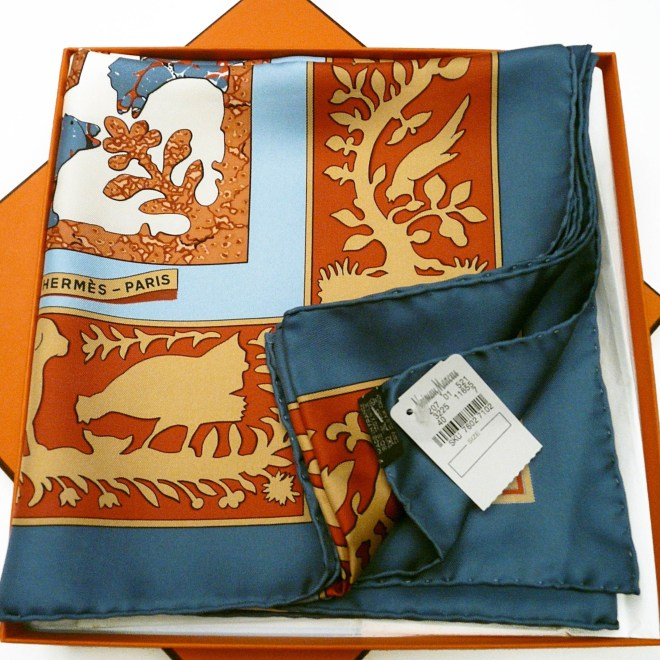 Early America HERMES Carre with Neiman Marcus store tag
