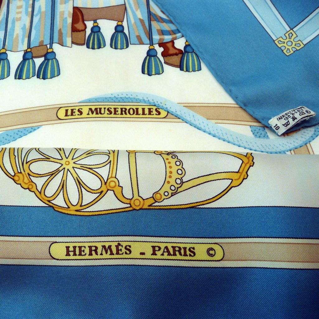 Les Muserolles HERMES Scarf copyright care tag – Carre de Paris ... f7f8be34c65