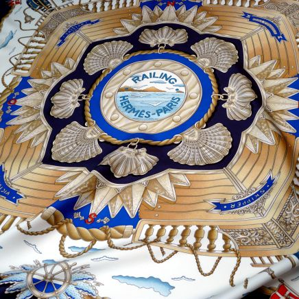 Railing HERMES Paris 36 inch silk scarf