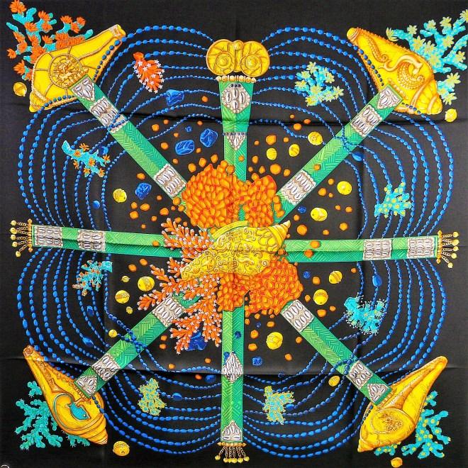 Authentic Hermes Silk Scarf Chemins de Corail Sold out Black Colorway RARE - NIB