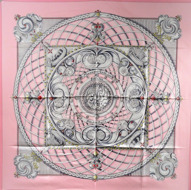Monnaies et Symboles des Parisii HERMES carre by Zoe Puawels in a lovely pink and gray colorway