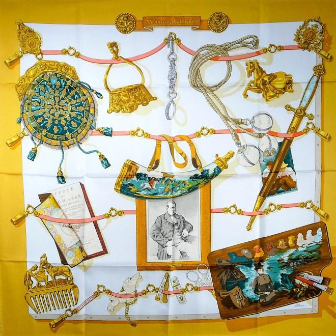Memoire d'Hermes HERMES Vintage Silk Scarf NIB