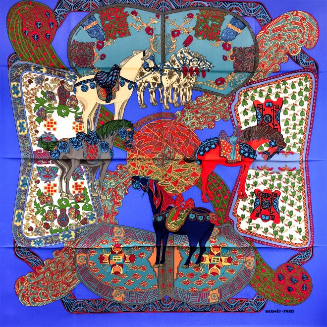 Art des Steppes Hermes HERMES Silk Scarf NIB-63