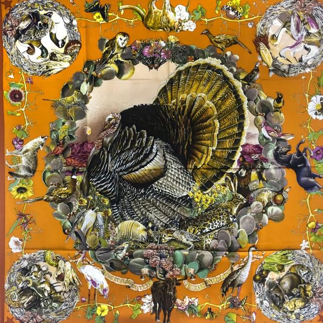 Faune et Flore Du Texas - Texas Wildlife RARE HERMES Silk Scarf (12)
