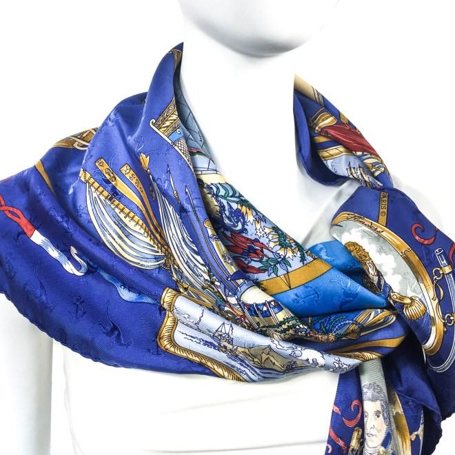 Geogrape HERMES Silk Jacquard Scarf Blue-3