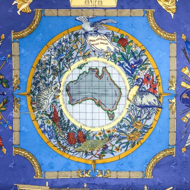 Geogrape HERMES Silk Jacquard Scarf Blue-8