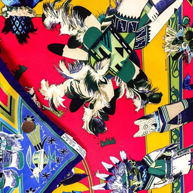 Kachinas HERMES Silk Scarf Pink-7