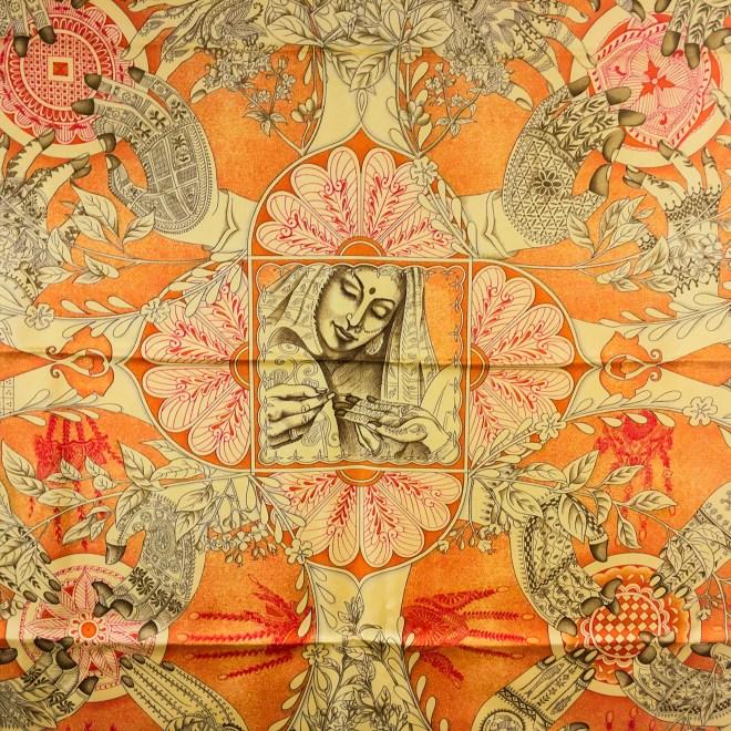 Le Chants du Henne HERMES Silk Scarf-4