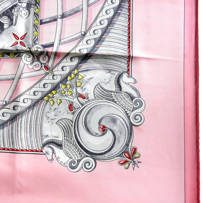 Monnaies et Symboles des Parisii Pink HERMES Silk Scarf_-2