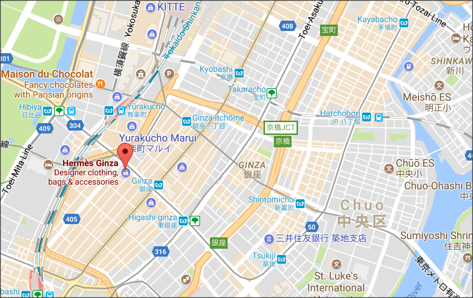 map of ginza