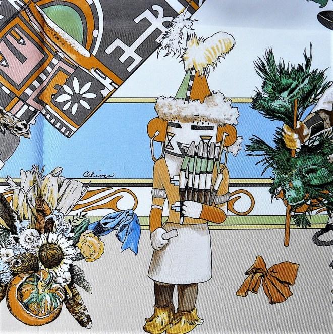 Kachinas HERMES Silk Carre Kermit Oliver Signature