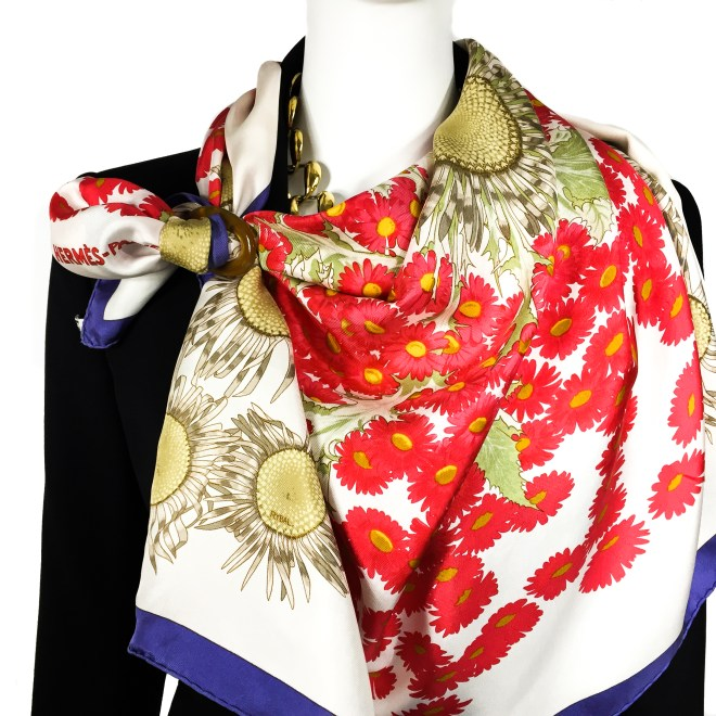 Fleurs et Carlines Vintage Hermes Silk Scarf-10
