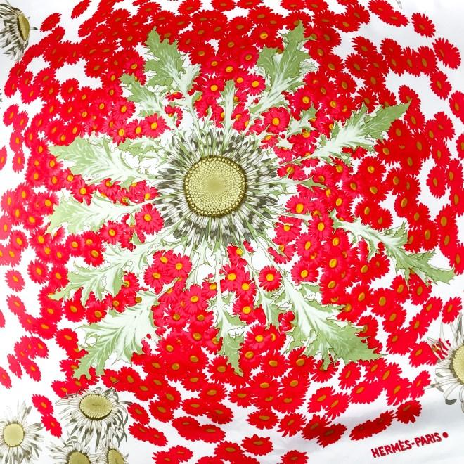 Fleurs et Carlines Vintage Hermes Silk Scarf-6