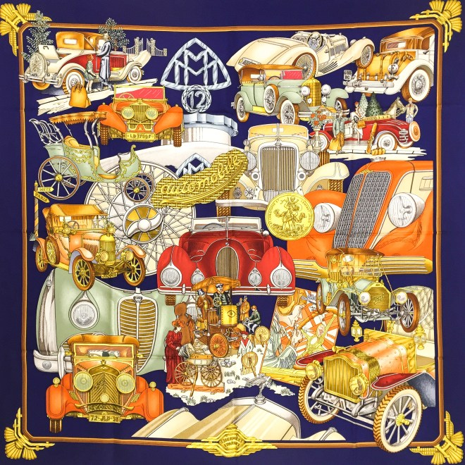 Hermes Silk Scarf Automobile_-4
