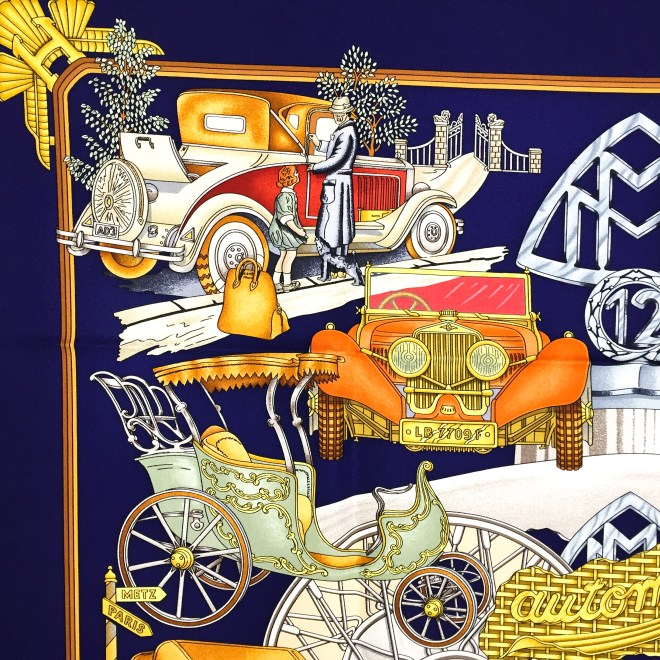 Hermes Silk Scarf Automobile_-6