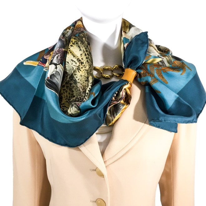 Hermes Silk Scarf Gibiers RARE-4
