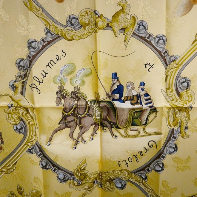 Plumes et Grelots HERMES Silk Jacquard Carre by Julia Abadie