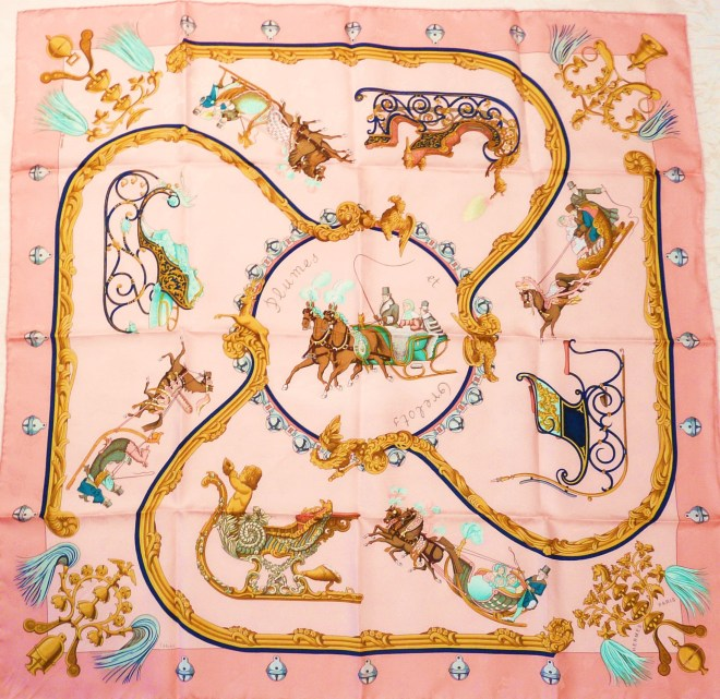 Vintage Hermes Jacquard Silk Scarf Plumes Et Grelots Pink 90 cm.JPG