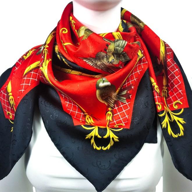 La Cle des Champs HERMES Silk H Jacquard Red Black NIB-9 (1)