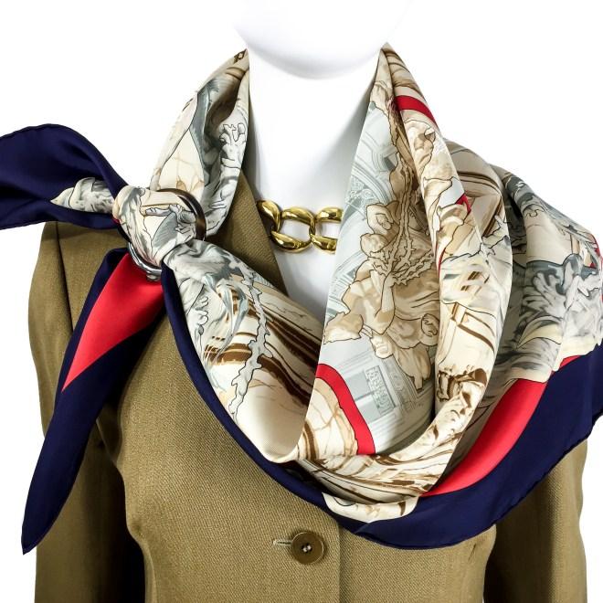 Hermes Silk Scarf La Fontaine de Bartholdi-11