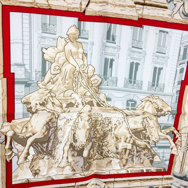 Hermes Silk Scarf La Fontaine de Bartholdi-7