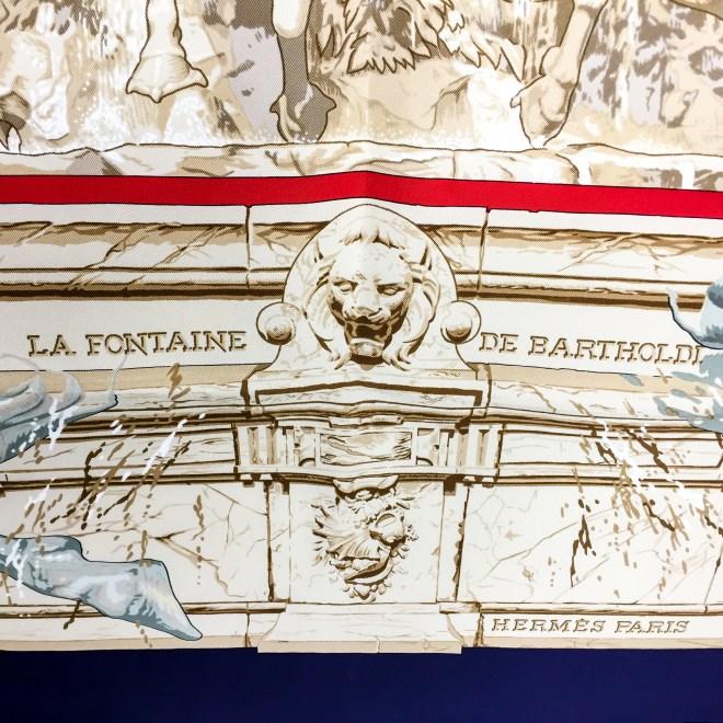 Hermes Silk Scarf La Fontaine de Bartholdi-8