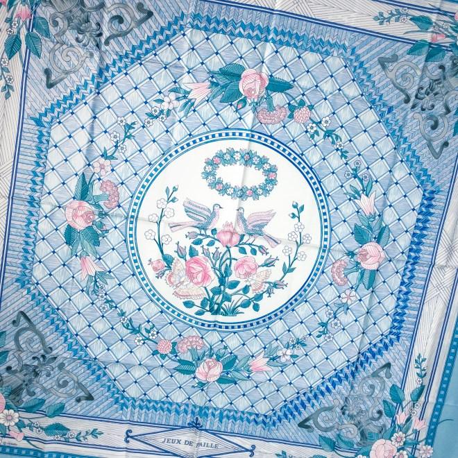 Hermes Silk Scarf Jeux de Paille Light Blue-2