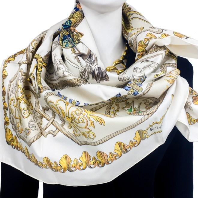 Hermes Silk Scarf Louis XIV - Ludovicus Magnus Cream-3