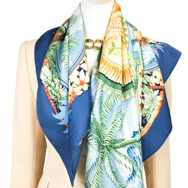 Hermes Silk Scarf Aloha Blue-9